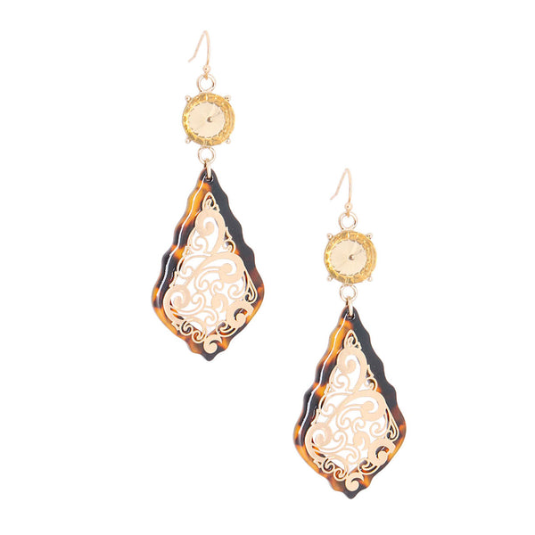 Gold Filigree Tortoiseshell Earrings