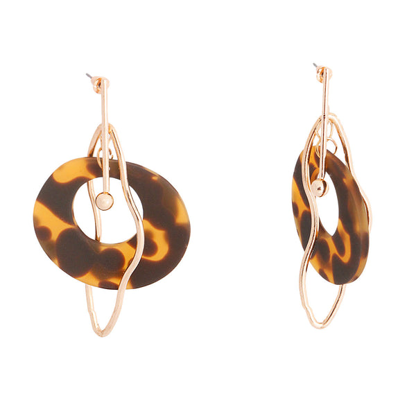 Gold Bar Dark Tortoiseshell Earrings