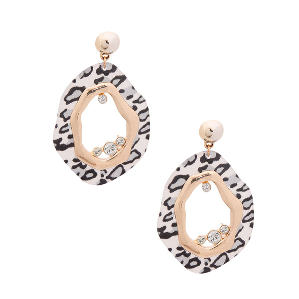 Gray Leopard Organic Earrings