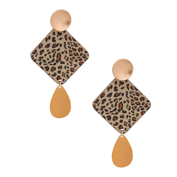 Gold Leopard Glitter Earrings