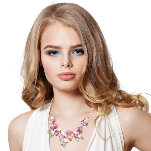 Purle Metal Flower Necklace Set