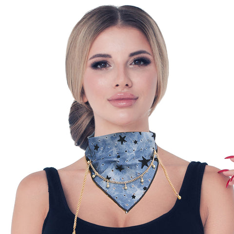 Blue Scarf Choker Necklace