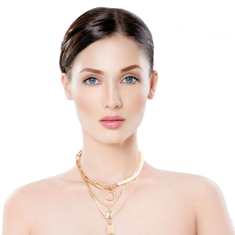 Gold and Pearl Layered Choker Chain