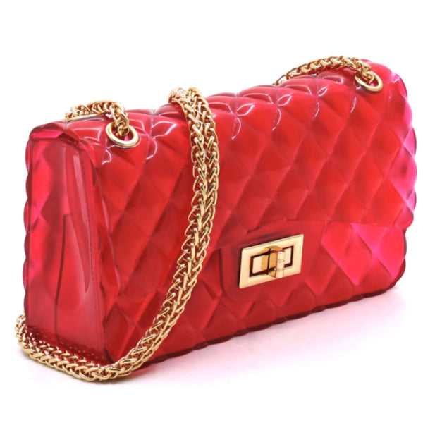 Fuchsia Clear Quilted Jelly Bag