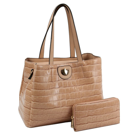 Light Brown Croc Tote Wallet Set