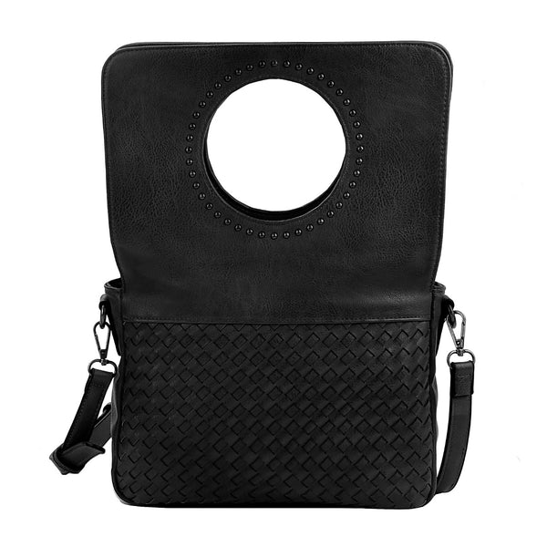 Black Leather Woven Flap Crossbody