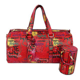 Red Graffiti Duffel Bag Set