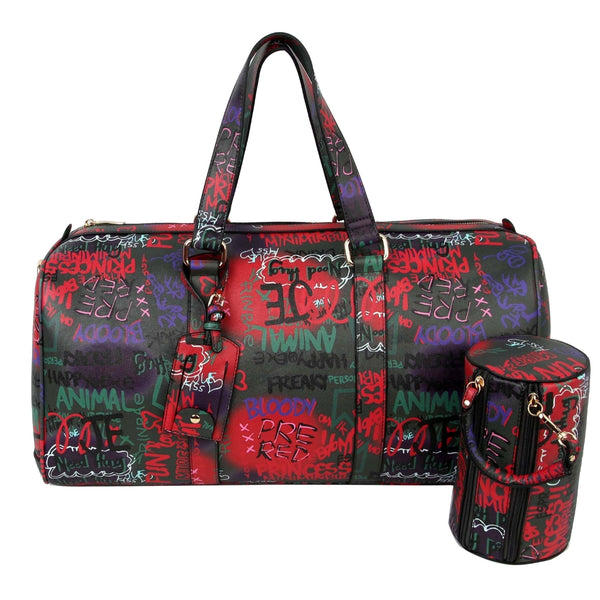 Black Graffiti Duffel Bag Set