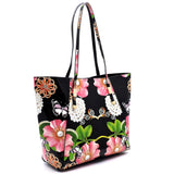Black Flower Print 3 Pcs Tote Set