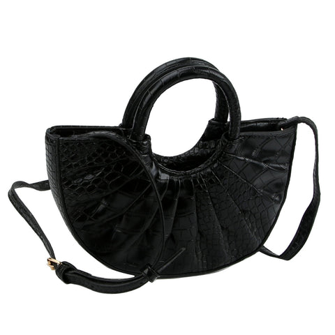 Black Semicircle Pleated Handbag