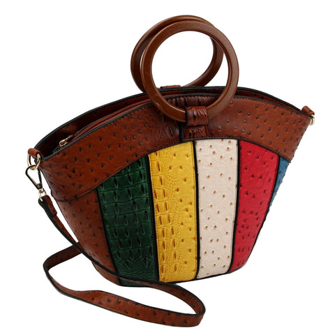 Brown Ostrich Stripe Ring Handle Bag