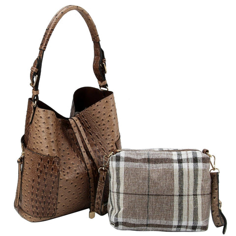 Light Brown Ostrich Plaid Pouch Bag Set