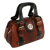 Brown Ostrich Buckle Satchel Bag