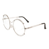 Retro Round Silver Clear Glasses