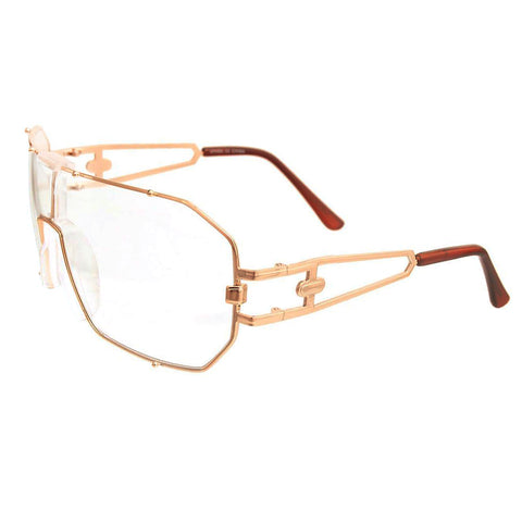 Gold 80's Square Clear Glasses