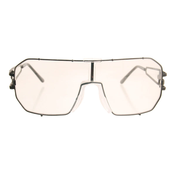 Hematite 80's Square Clear Glasses