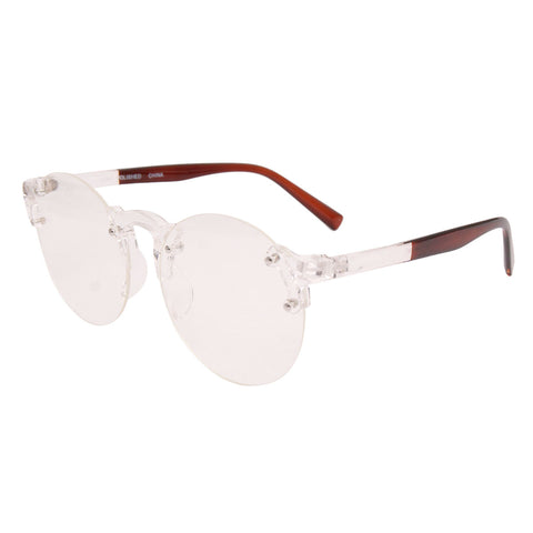 Brown Transparent Rimless Glasses