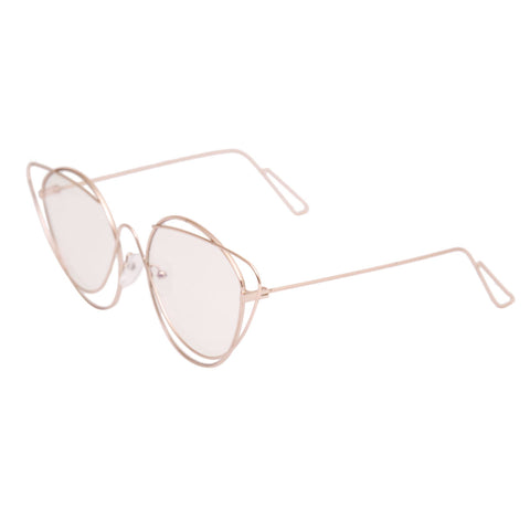 Gold Wire Cat Eye Clear Glasses