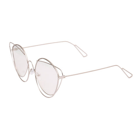 Silver Wire Cat Eye Clear Glasses