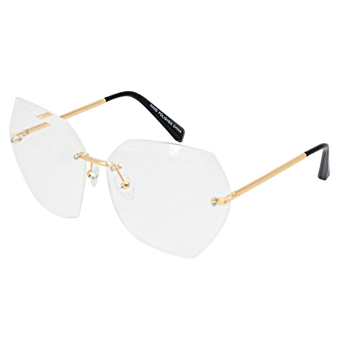 Gold Rimless Clear Beveled Glasses