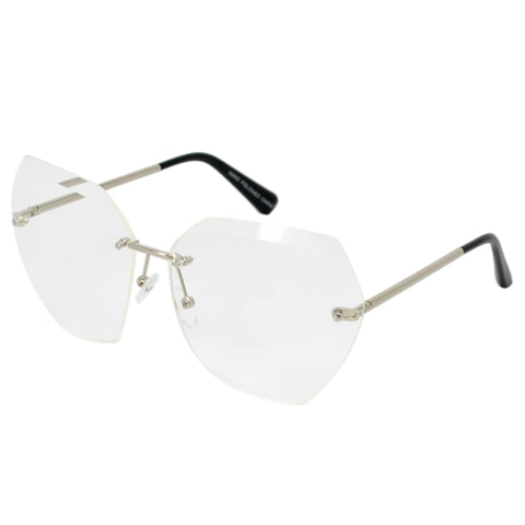 Silver Rimless Clear Beveled Glasses