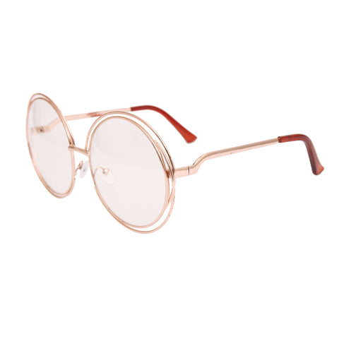 Gold Double Frame Clear Glasses