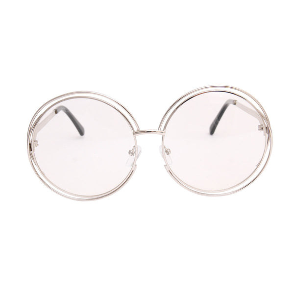 Silver Double Frame Clear Glasses