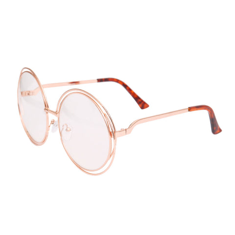 Rose Gold Double Frame Clear Glasses