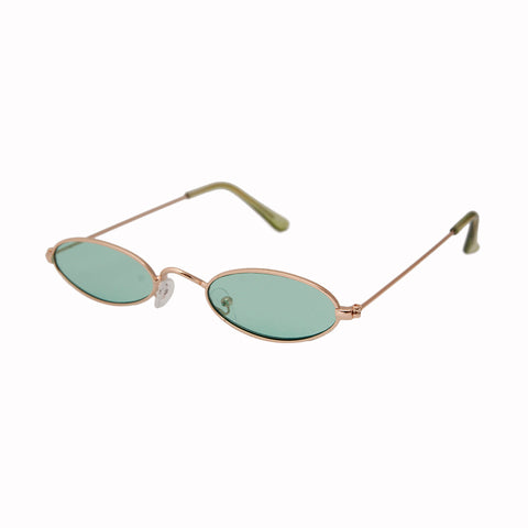 Green Retro Oval Sunglasses