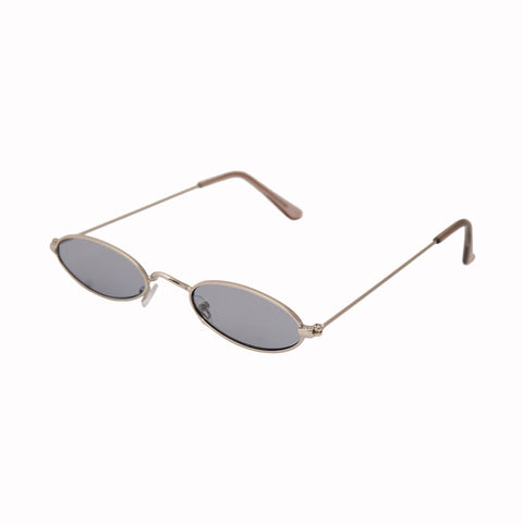 Gray Retro Oval Sunglasses