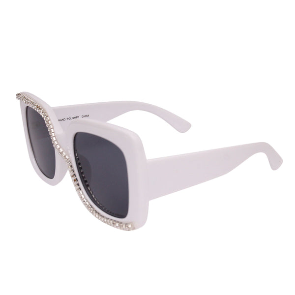 White Rhinestone Trail Sunglasses