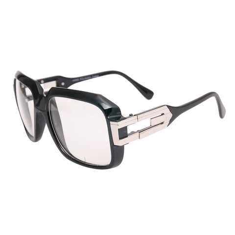 Square Clear Black Silver Retro Glasses