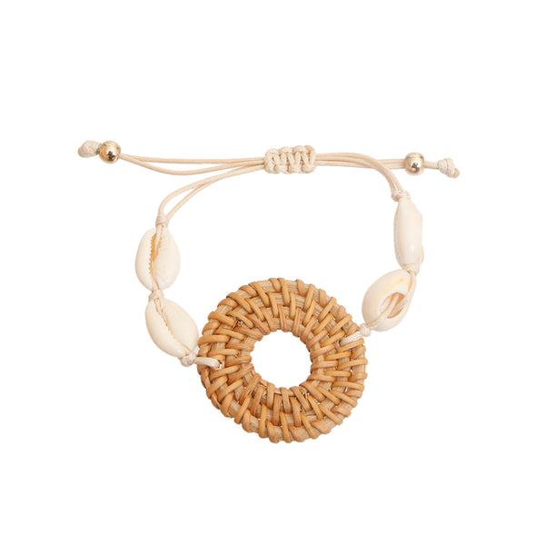Brown Woven Ring Shell Bracelet