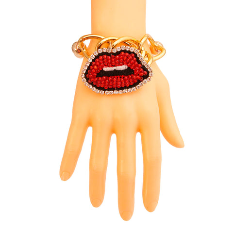 Red Lips Gold Bead Bracelet