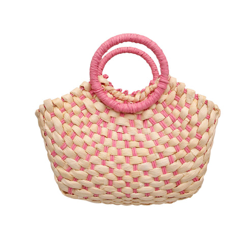 Light Purple Pink Straw Woven Tote