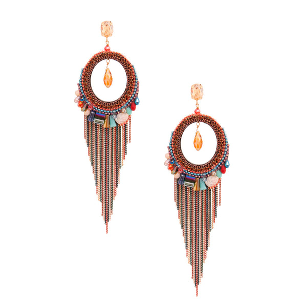 Multi Color Fringe Chain Earrings