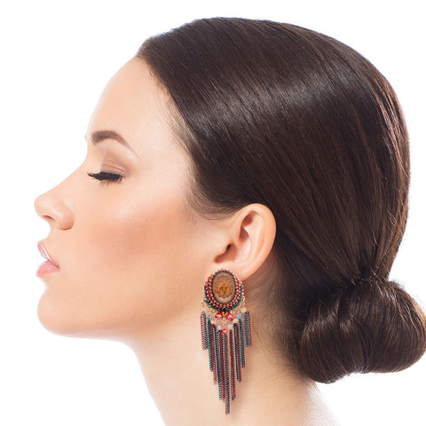 Resin Multi Color Chain Fringe Earrings