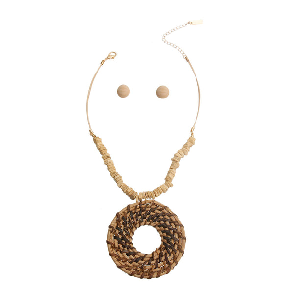 Brown Woven Ring Pendant Set