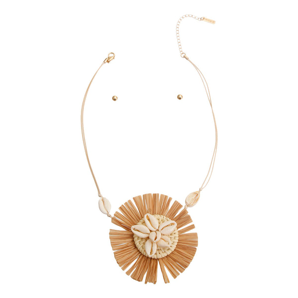 Brown Shell Raffia Pendant Set