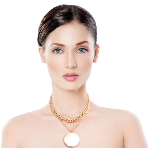 Gold Layered Chain Disc Necklace