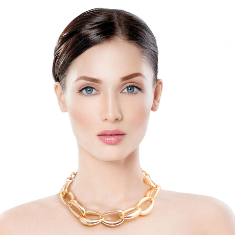 Gold Hollow Chain Link Necklace