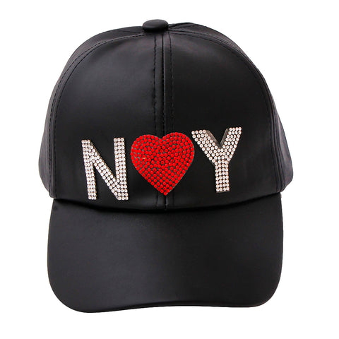 Black Leather and Rhinestone NY Snapback Cap