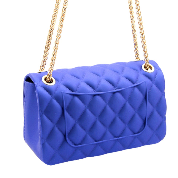 Small Blue Quilted Jelly Crossbody Bag