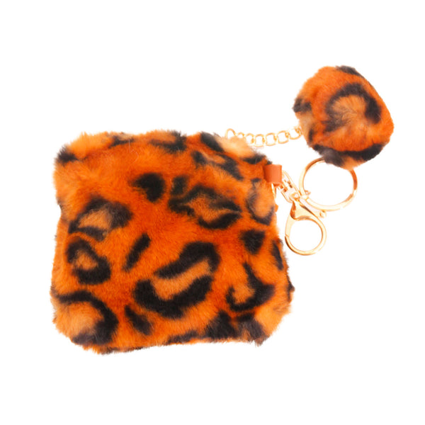 Brown Leopard Fur Coin Keychain