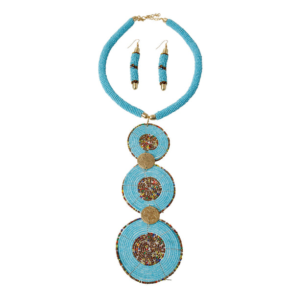Blue Bead Drop Necklace Set