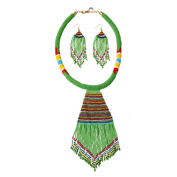 Green Bead Tassel Necklace Set