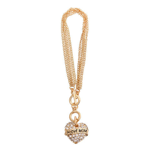 Gold I LOVE MOM Heart Bracelet