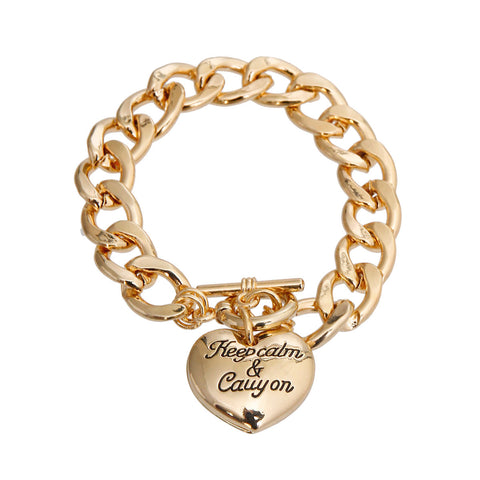Gold Keep Calm and Carry On Bracelet