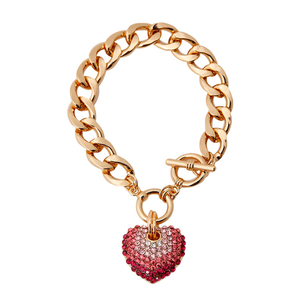 Rhinestone Heart Toggle Bracelet