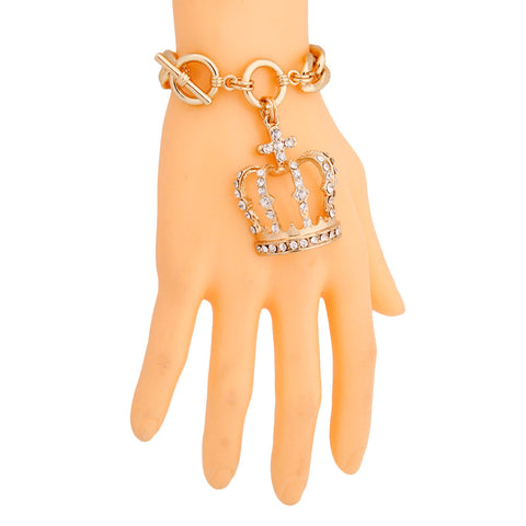 Gold Crown Toggle Bracelet